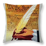 Us Constitution Stamp Throw Pillow