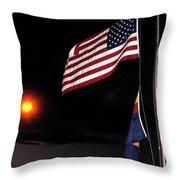 Us Flag Arizona Flag Twilight Casa Grande Arizona 2005 Throw Pillow