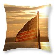 Us Flag At Sunset Throw Pillow