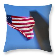 Us Flag At Washington Monument At Dusk Throw Pillow