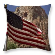 U.s. Flag In Zion National Park Throw Pillow