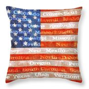 Us Flag With States Throw Pillow