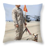 U.s. Marine And The Official Mascot Throw Pillow