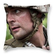 U.s. Marine Calls For Helicopter Throw Pillow
