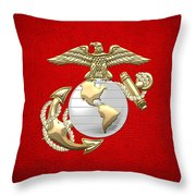 U. S. Marine Corps Eagle Globe And Anchor - E G A On Red Leather Throw Pillow