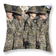 U.s. Marine Corps Female Drill Throw Pillow