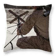 U.s. Marine Repositions A Satellite Throw Pillow