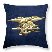 U. S. Navy S E A Ls Emblem On Blue Velvet Throw Pillow