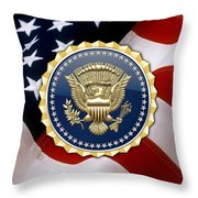 Presidential Service Badge - P S B Over American Flag Throw Pillow