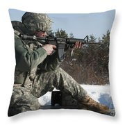 U.s. Soldier Fires His M4a3 Carbine Throw Pillow
