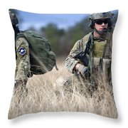 U.s. Soldiers Await The Arrival Throw Pillow