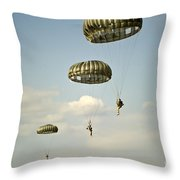 U.s. Soldiers Descend Through The Sky Throw Pillow