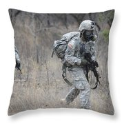U.s. Soldiers Don Chemical Warfare Gear Throw Pillow