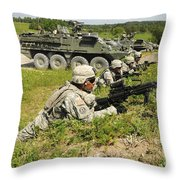 U.s. Soldiers Move Into Firing Throw Pillow