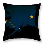 Usa American Alaska State Map Outline With Grunge Effect Flag Throw Pillow