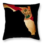 Usa American Florida State Map Outline With Grunge Effect Flag Throw Pillow