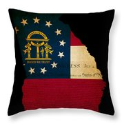 Usa American Georgia State Map Outline With Grunge Effect Flag A Throw Pillow
