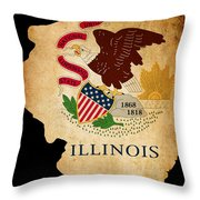 Usa American Illinois State Map Outline With Grunge Effect Flag Throw Pillow