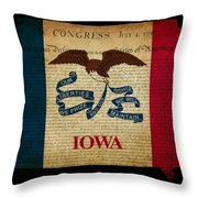 Usa American Iowa State Map Outline With Grunge Effect Flag And  Throw Pillow