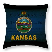 Usa American Kansas State Map Outline With Grunge Effect Flag An Throw Pillow