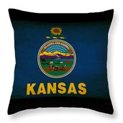 Usa American Kansas State Map Outline With Grunge Effect Flag Throw Pillow