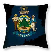 Usa American Maine State Map Outline With Grunge Effect Flag Throw Pillow