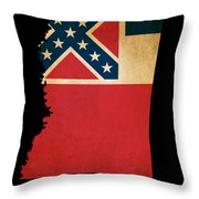 Usa American Mississippi State Map Outline With Grunge Effect Fl Throw Pillow
