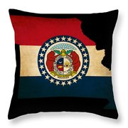 Usa American Missouri State Map Outline With Grunge Effect Flag Throw Pillow