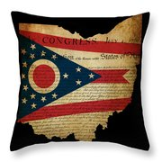 Usa American Ohio State Map Outline With Grunge Effect Flag Inse Throw Pillow