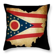 Usa American Ohio State Map Outline With Grunge Effect Flag Throw Pillow