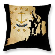 Usa American Rhode Island State Map Outline With Grunge Effect F Throw Pillow