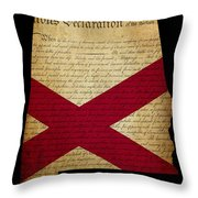 Usa American State Alabama Map Outline With Grunge Effect Flag A Throw Pillow
