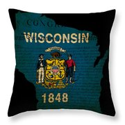 Usa American Wisconsin State Map Outline With Grunge Effect Flag Throw Pillow