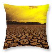 Usa, California, Cracked Mud In Dry Throw Pillow