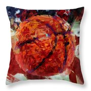 Usa Flag And Basketball Abstract Throw Pillow