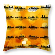 Usa Skylines 3 Throw Pillow