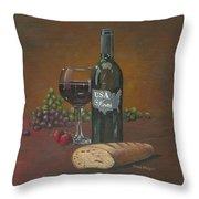 Usa Wine Throw Pillow
