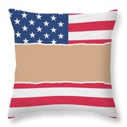 Usa Wrapping Paper Torn Through The Centre Throw Pillow