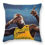 Usain Bolt Painting Throw Pillow