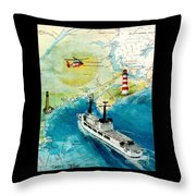 Uscg Chase Helicopter Chart Map Art Peek Throw Pillow