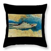 Uscg Cuttyhunk Nautical Chart Art Peek Throw Pillow