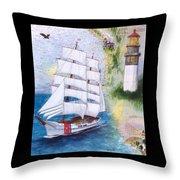 Uscg Tall Ship Eagle Chart Art Peek Throw Pillow