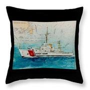 Uscgc Bibb Nautical Chart Cathy Peek Throw Pillow