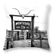 Used Cow Lot Throw Pillow