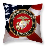 U S M C Eagle Globe And Anchor - E G A Over American Flag. Throw Pillow