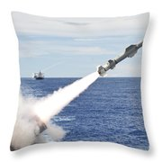 Uss Cowpens Launches A Harpoon Missile Throw Pillow