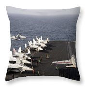Uss Enterprise Conducts Flight Throw Pillow by Stocktrek Images