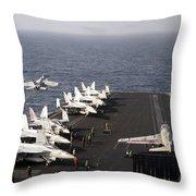 Uss Enterprise Conducts Flight Throw Pillow by Stocktrek Images