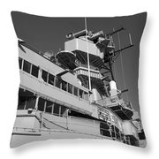 Uss Iowa Battleship Portside Bridge 01 Bw Throw Pillow