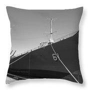 Uss Iowa Battleship Starboard Side Bw Throw Pillow